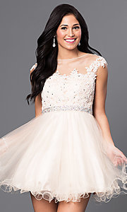 Image of illusion-lace-bodice short babydoll homecoming dress. Style: DQ-9489 Detail Image 3