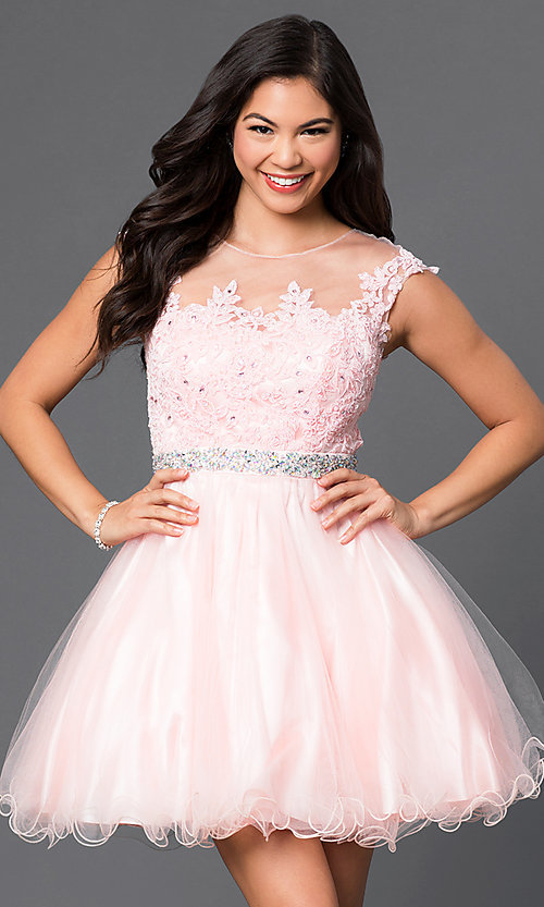 Image of illusion-lace-bodice short babydoll homecoming dress. Style: DQ-9489 Front Image