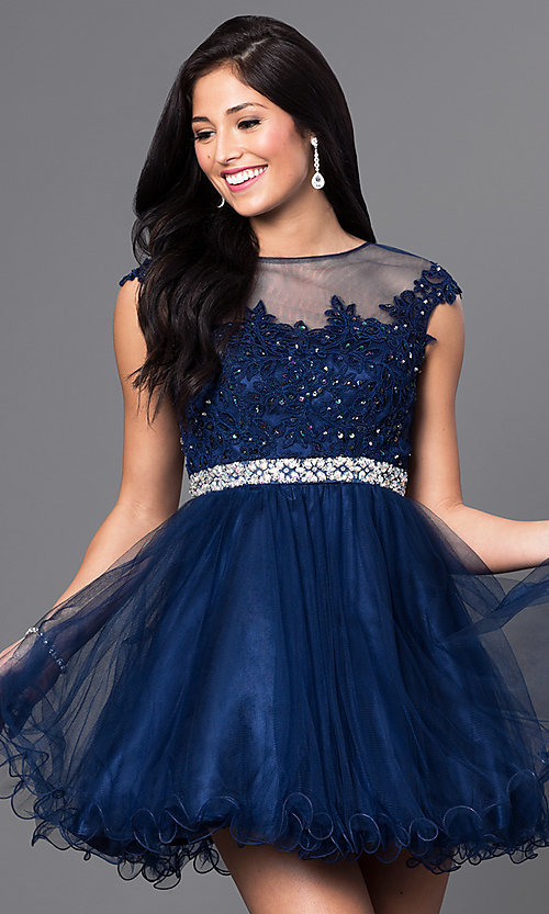 Image of illusion-lace-bodice short babydoll homecoming dress. Style: DQ-9489 Detail Image 2
