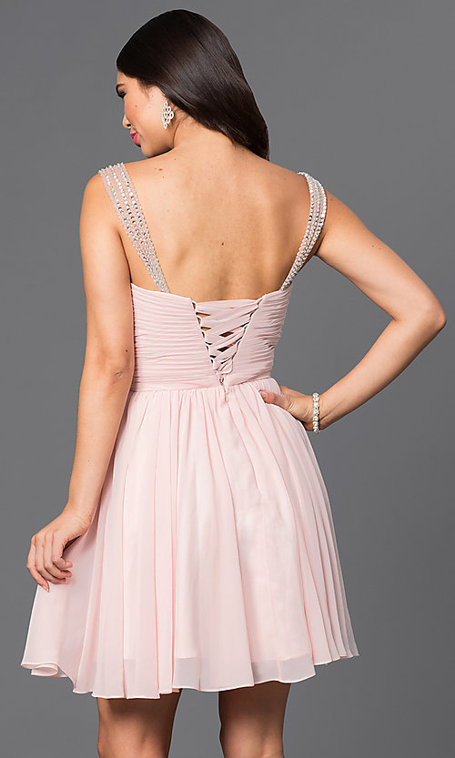 Image of corset-back short party dress with beaded straps. Style: DQ-9472 Back Image