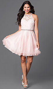 Image of lace-bodice short homecoming dress with jewels.  Style: DQ-9534 Detail Image 1