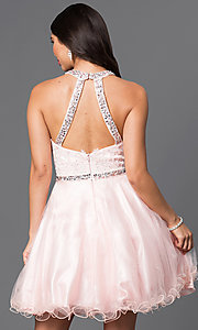 Image of lace-bodice short homecoming dress with jewels.  Style: DQ-9534 Back Image