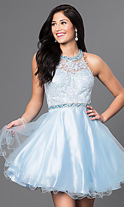 Image of lace-bodice short homecoming dress with jewels.  Style: DQ-9534 Detail Image 2