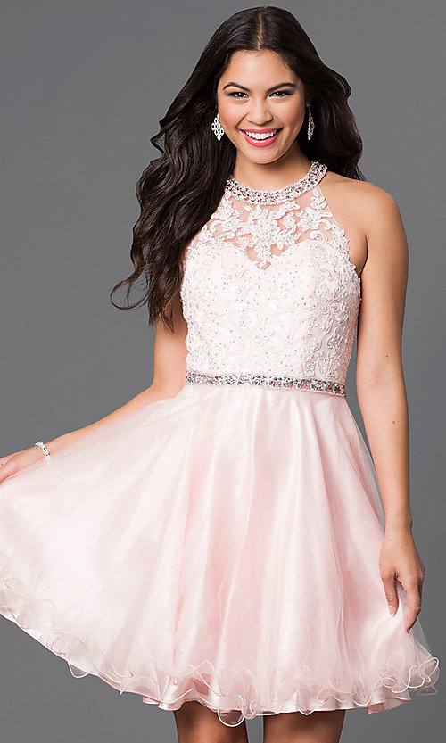 Image of lace-bodice short homecoming dress with jewels.  Style: DQ-9534 Front Image