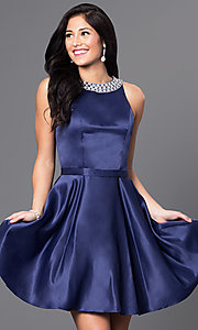 Image of jeweled-collar short a-line satin cocktail dress. Style: DQ-9463 Front Image