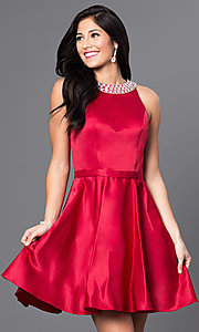 Image of jeweled-collar short a-line satin cocktail dress. Style: DQ-9463 Detail Image 2