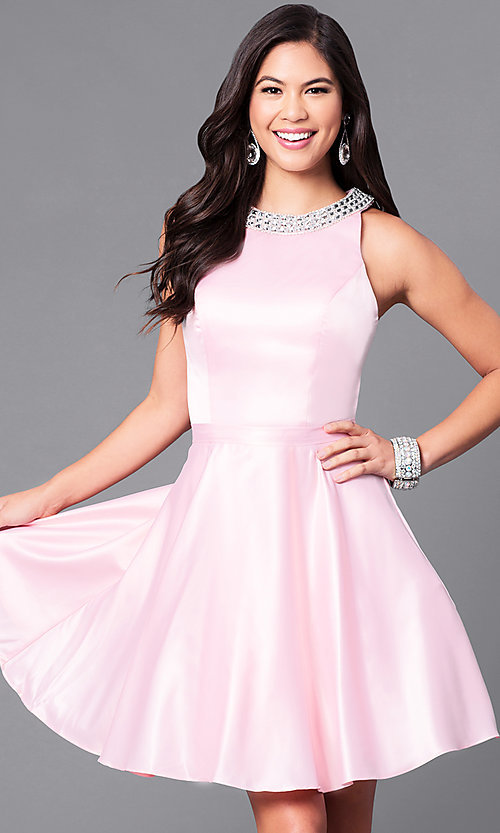 Image of jeweled-collar short a-line satin cocktail dress. Style: DQ-9463 Detail Image 3
