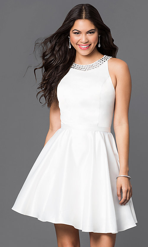 Image of jeweled-collar short a-line satin cocktail dress. Style: DQ-9463 Detail Image 1