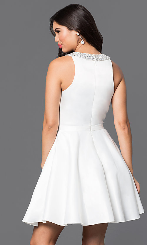Image of jeweled-collar short a-line satin cocktail dress. Style: DQ-9463 Back Image