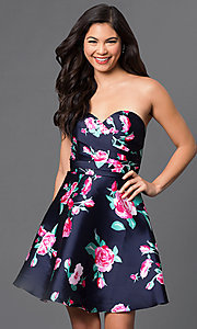 Image of short print strapless sweetheart party dress. Style: DQ-9522 Front Image