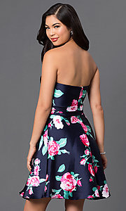 Image of short print strapless sweetheart party dress. Style: DQ-9522 Back Image