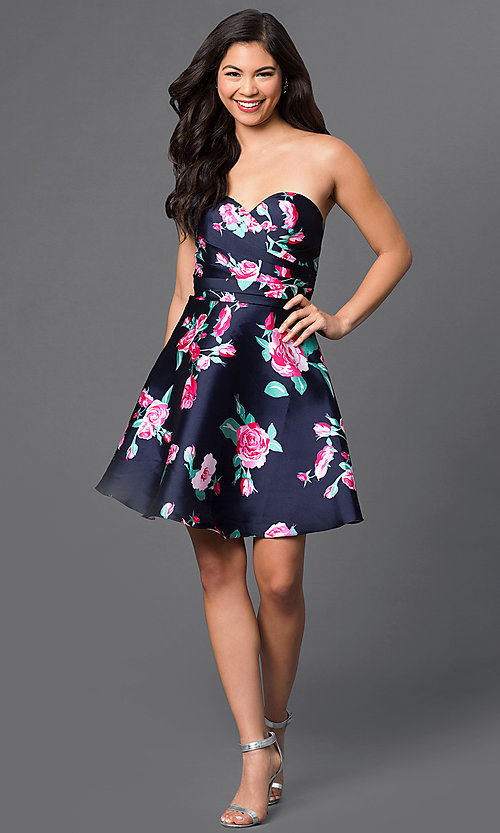 Image of short print strapless sweetheart party dress. Style: DQ-9522 Detail Image 1