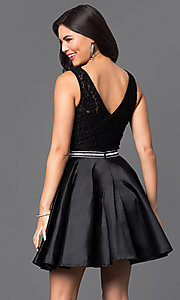 Images of v-back lace-bodice short homecoming party dress. Style: DQ-9503 Back Image