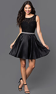 Images of v-back lace-bodice short homecoming party dress. Style: DQ-9503 Detail Image 2
