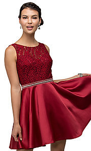 Images of v-back lace-bodice short homecoming party dress. Style: DQ-9503 Detail Image 4