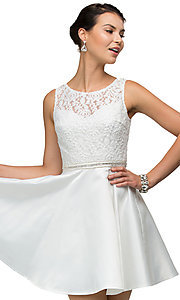 Images of v-back lace-bodice short homecoming party dress. Style: DQ-9503 Detail Image 5