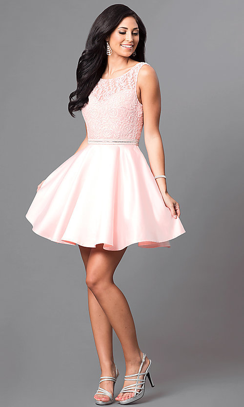 Images of v-back lace-bodice short homecoming party dress. Style: DQ-9503 Detail Image 3