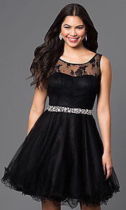 Image of short illusion homecoming party dress with v-back. Style: DQ-9465 Front Image