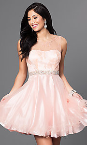 Image of short illusion homecoming party dress with v-back. Style: DQ-9465 Detail Image 1