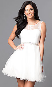 Image of short illusion homecoming party dress with v-back. Style: DQ-9465 Detail Image 3