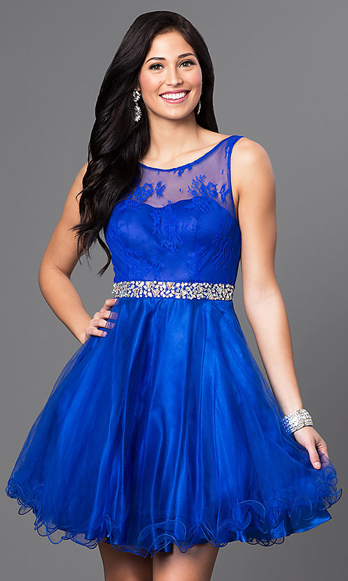 Image of short illusion homecoming party dress with v-back. Style: DQ-9465 Detail Image 2