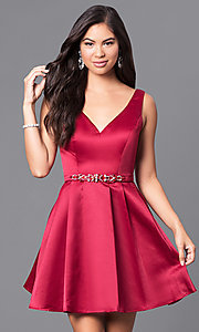 Image of sleeveless v-neck satin dress with pleated skirt. Style: DQ-9514 Detail Image 1