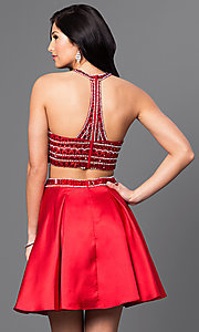 Image of two-piece beaded-top homecoming dress with pockets. Style: DQ-9475 Back Image
