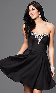 Image of short pleated homecoming dress with lace-up corset. Style: DQ-9492 Front Image