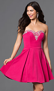 Image of short pleated homecoming dress with lace-up corset. Style: DQ-9492 Detail Image 1