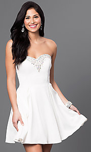 Image of short pleated homecoming dress with lace-up corset. Style: DQ-9492 Detail Image 2