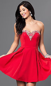 Image of short pleated homecoming dress with lace-up corset. Style: DQ-9492 Detail Image 3