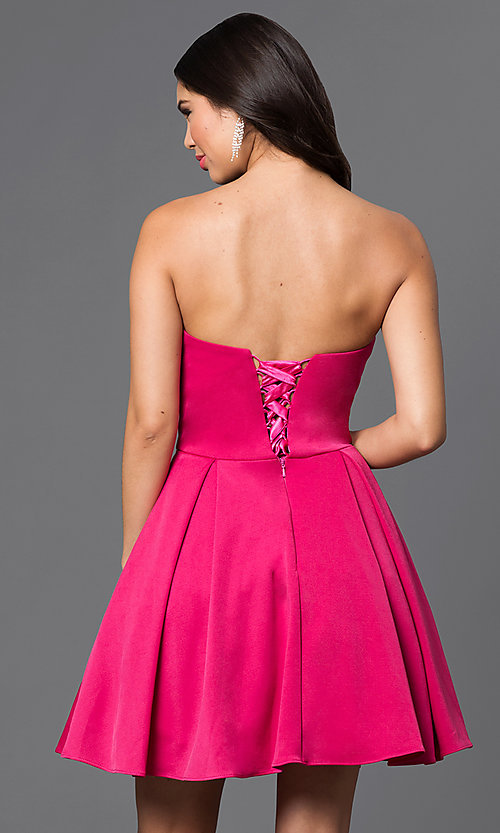 Image of short pleated homecoming dress with lace-up corset. Style: DQ-9492 Back Image