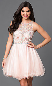 Image of sequined-bodice short racerback homecoming dress. Style: DQ-9461 Front Image