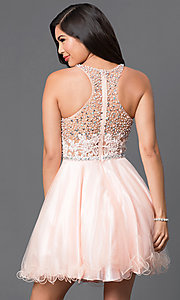 Image of sequined-bodice short racerback homecoming dress. Style: DQ-9461 Back Image