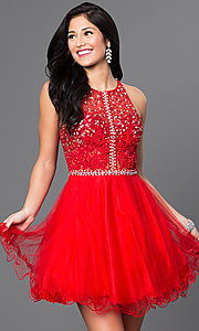 Image of sequined-bodice short racerback homecoming dress. Style: DQ-9461 Detail Image 3