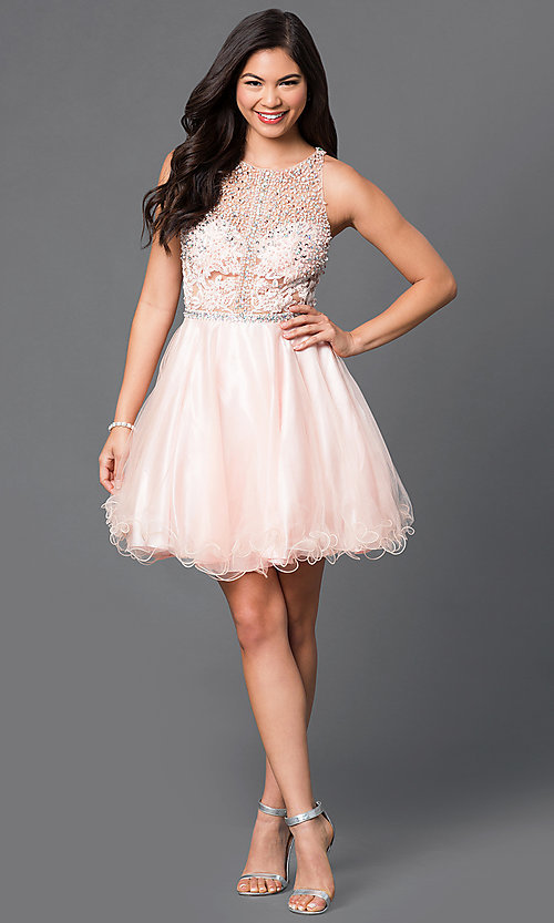 Image of sequined-bodice short racerback homecoming dress. Style: DQ-9461 Detail Image 2