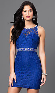 Image of short lace homecoming dress with jeweled accents. Style: DQ-9506 Front Image