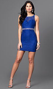 Image of short lace homecoming dress with jeweled accents. Style: DQ-9506 Detail Image 1