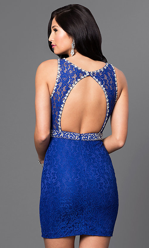 Image of short lace homecoming dress with jeweled accents. Style: DQ-9506 Back Image