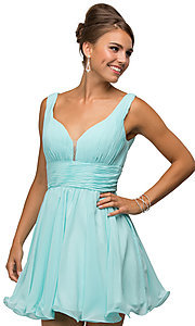 Image of v-neck chiffon short party dress with ruched bodice. Style: DQ-9496 Detail Image 2