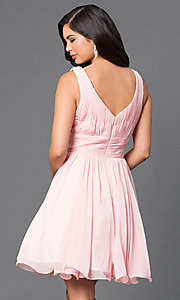 Image of v-neck chiffon short party dress with ruched bodice. Style: DQ-9496 Back Image