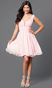 Image of v-neck chiffon short party dress with ruched bodice. Style: DQ-9496 Detail Image 1