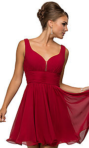 Image of v-neck chiffon short party dress with ruched bodice. Style: DQ-9496 Detail Image 3