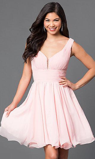 V-Neck Chiffon Short Party Dress with Ruched Bodice