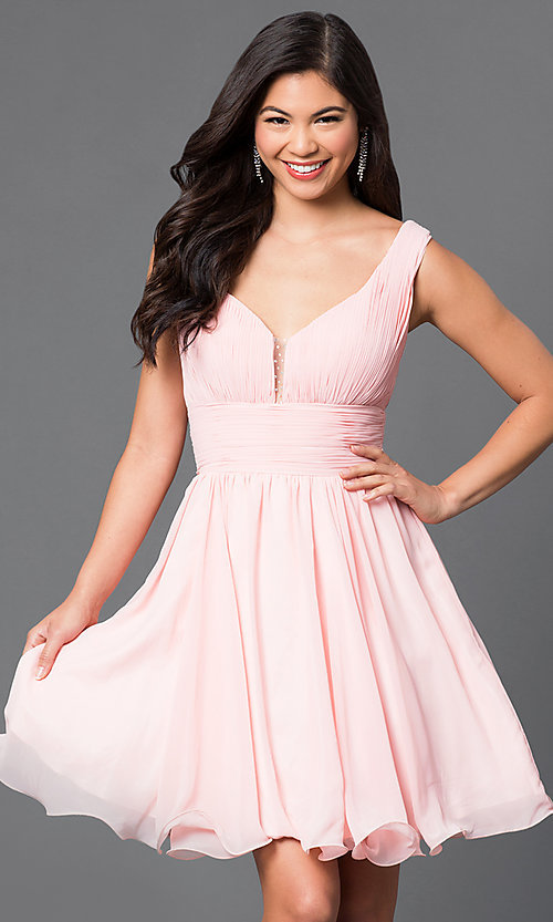 Image of v-neck chiffon short party dress with ruched bodice. Style: DQ-9496 Front Image