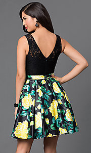 Image of floral-print short lace-bodice homecoming dress. Style: DQ-9517 Back Image