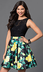 Image of floral-print short lace-bodice homecoming dress. Style: DQ-9517 Detail Image 1