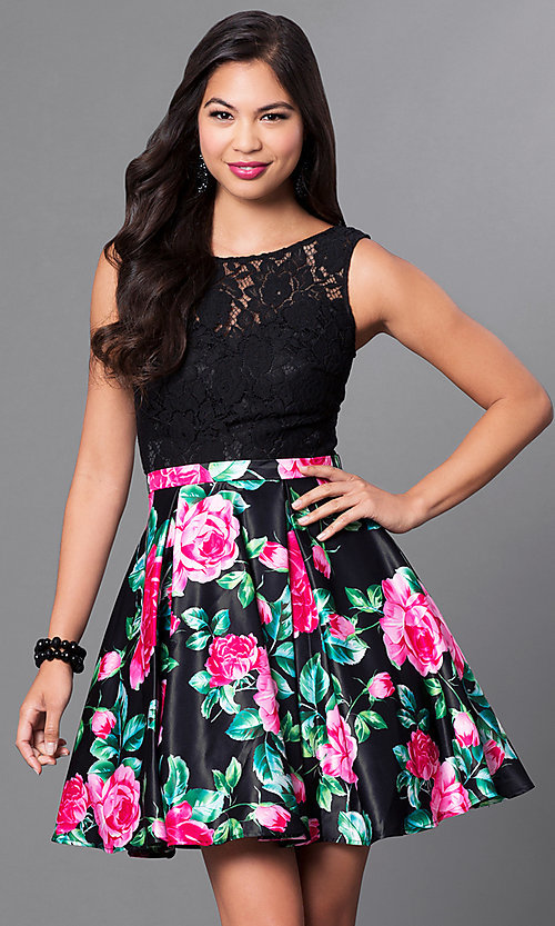 Image of floral-print short lace-bodice homecoming dress. Style: DQ-9517 Front Image