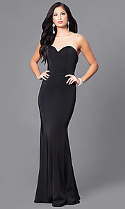 Image of illusion-sweetheart floor-length mermaid dress. Style: DQ-9524 Front Image
