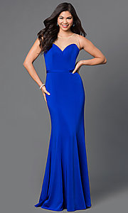 Image of illusion-sweetheart floor-length mermaid dress. Style: DQ-9524 Detail Image 2